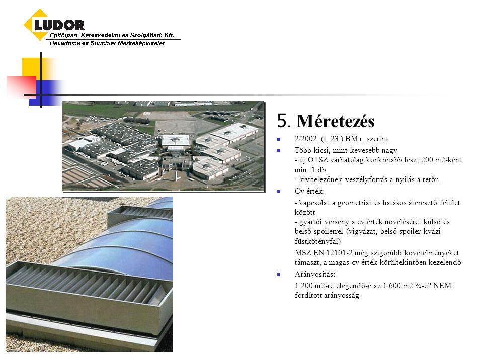 5. Méretezés 2/2002. (I. 23.) BM r. szerint