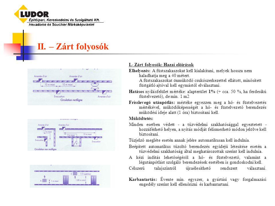 II. – Zárt folyosók I.- Zárt folyosók: Hazai előírások