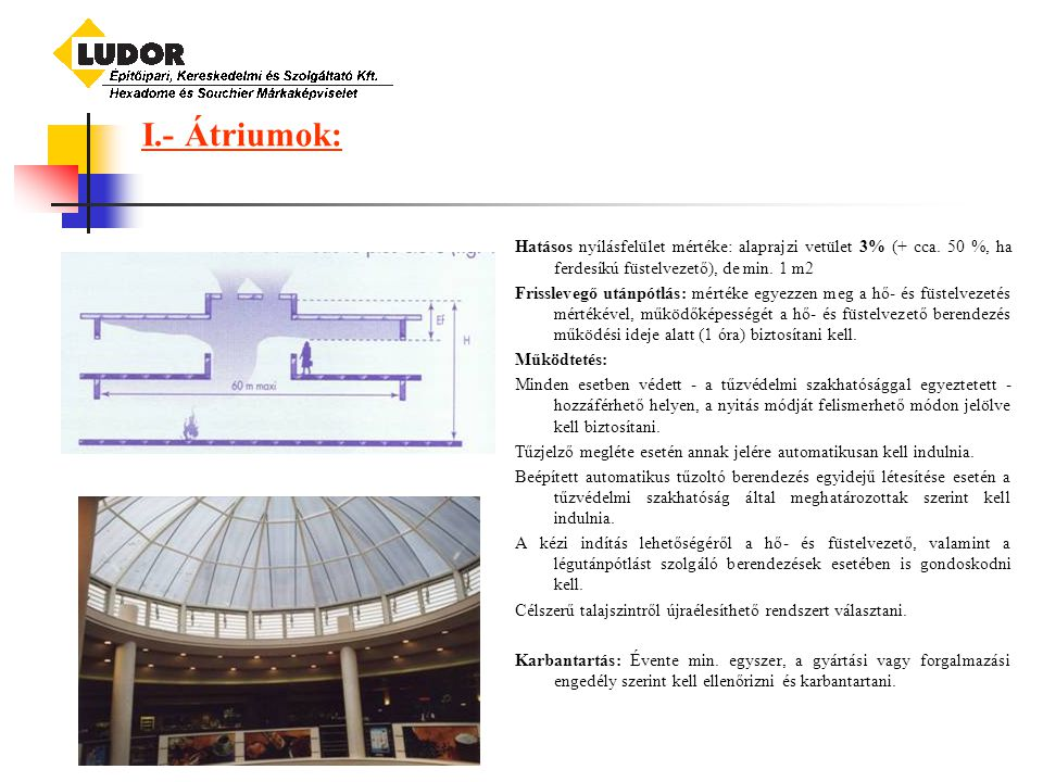 I.- Átriumok: Hatásos nyílásfelület mértéke: alaprajzi vetület 3% (+ cca. 50 %, ha ferdesíkú füstelvezető), de min. 1 m2.