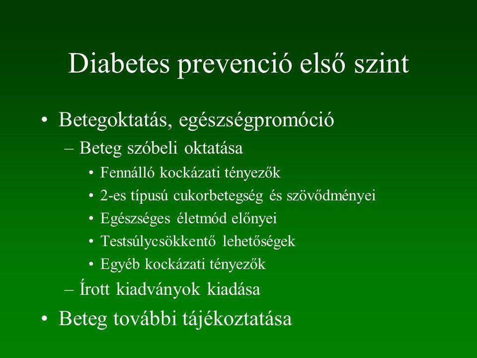 Diabetes prevenció első szint