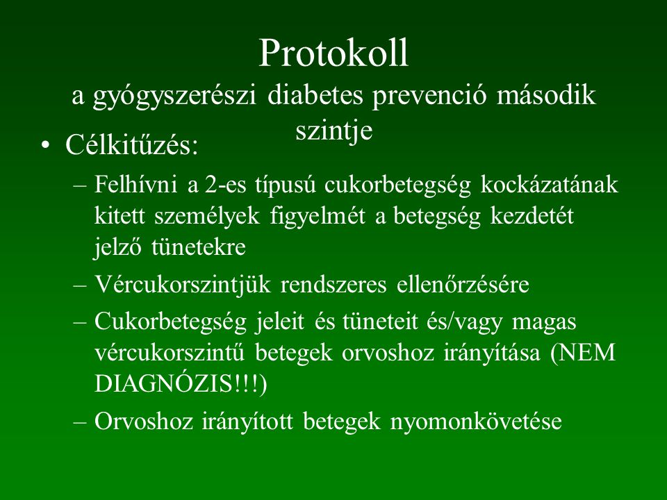 Protokoll a gyógyszerészi diabetes prevenció második szintje