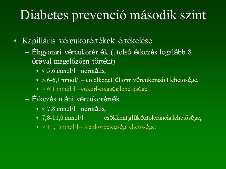 Diabetes prevenció második szint