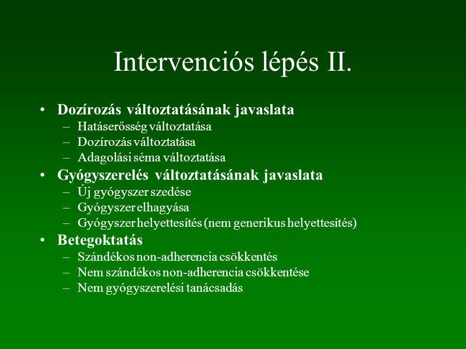 Intervenciós lépés II. Dozírozás változtatásának javaslata