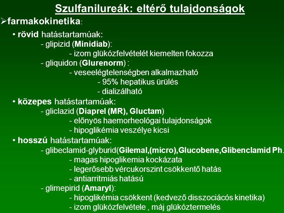 Szulfanilureák: eltérő tulajdonságok
