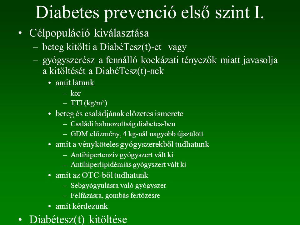 Diabetes prevenció első szint I.