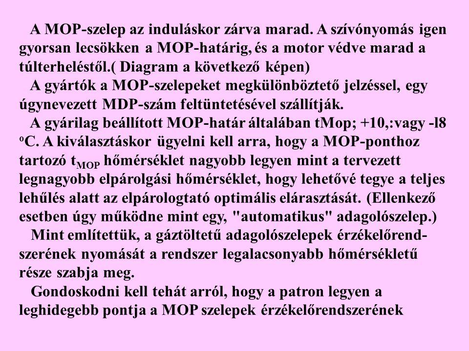 A MOP-szelep az induláskor zárva marad