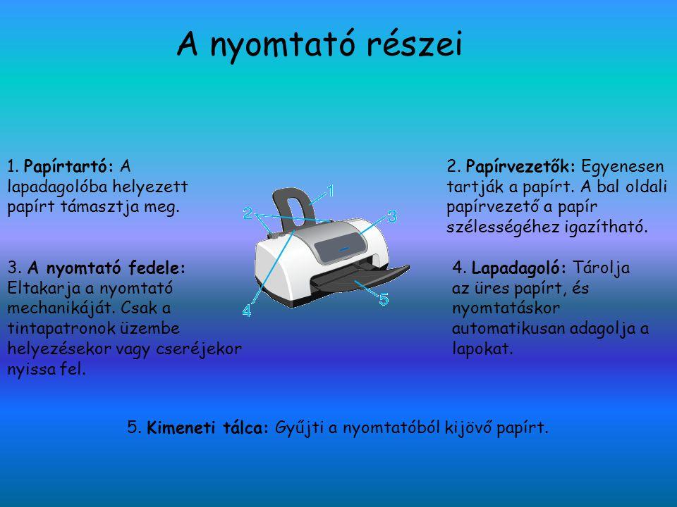 5. Kimeneti tálca: Gyűjti a nyomtatóból kijövő papírt.