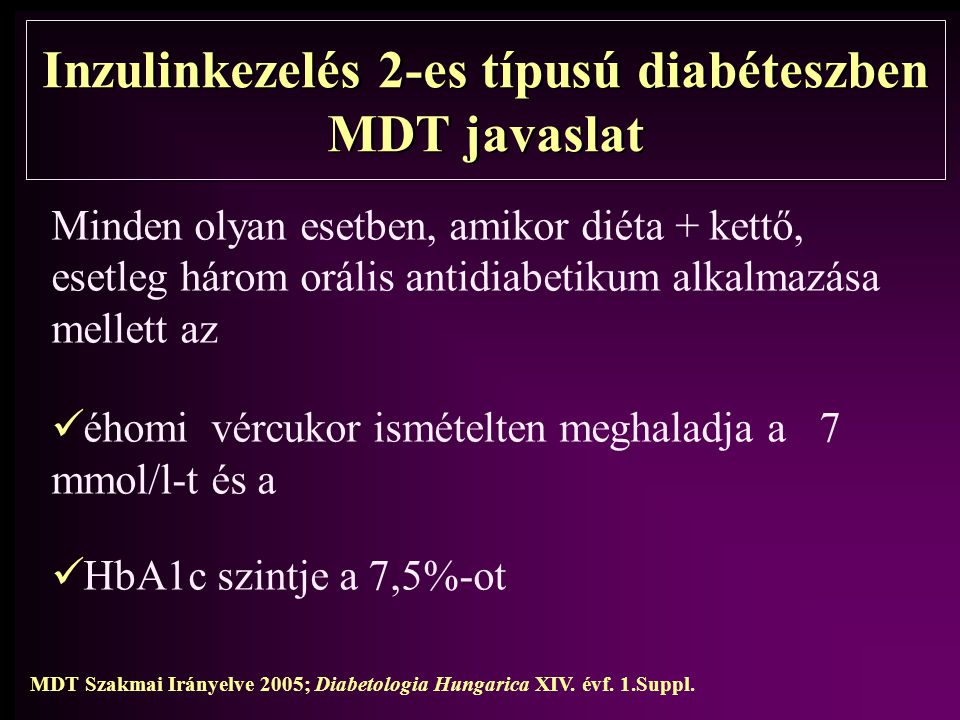 Inzulinkezelés 2-es típusú diabéteszben MDT javaslat