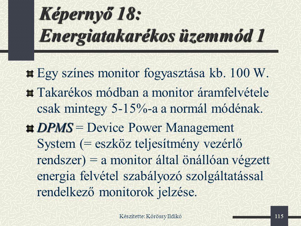 Képernyő 18: Energiatakarékos üzemmód 1