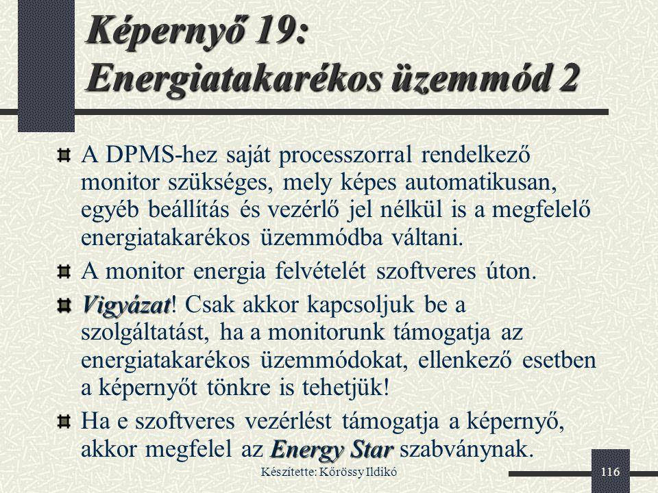 Képernyő 19: Energiatakarékos üzemmód 2