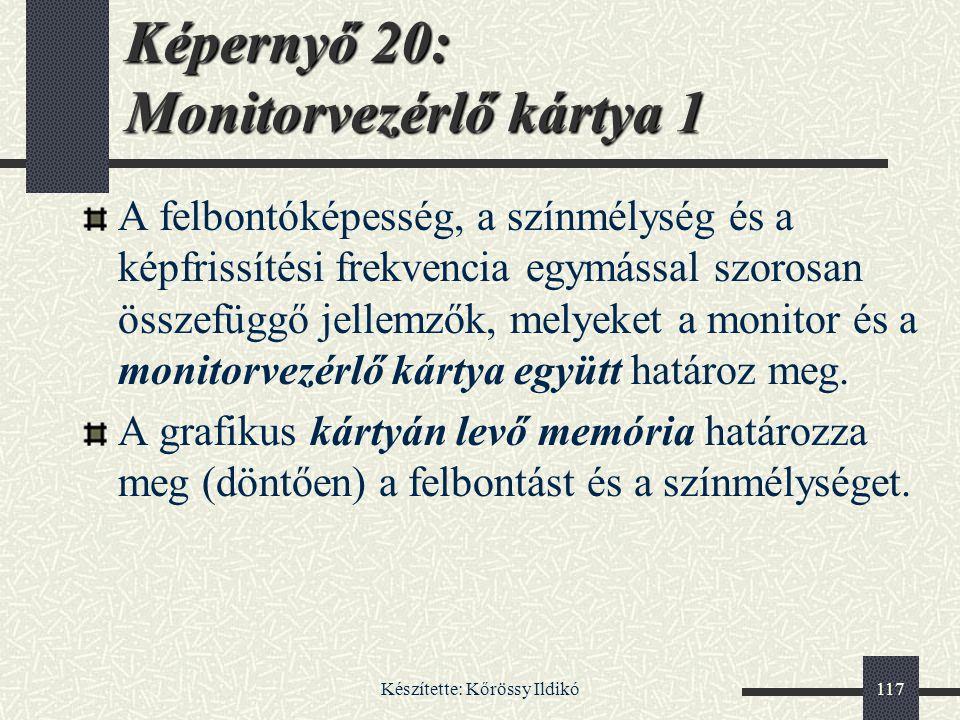Képernyő 20: Monitorvezérlő kártya 1