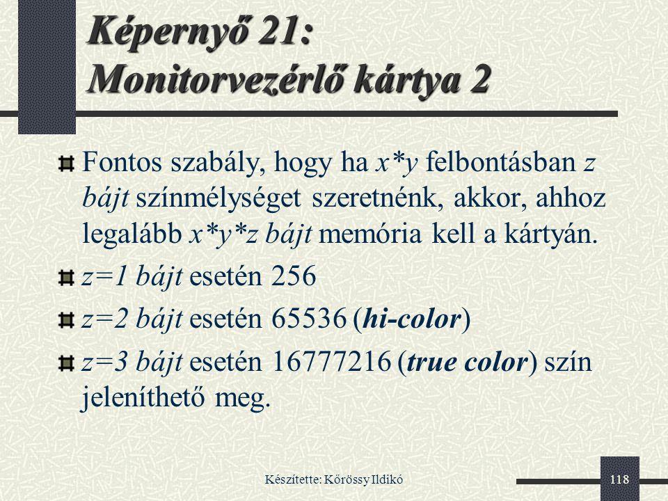 Képernyő 21: Monitorvezérlő kártya 2