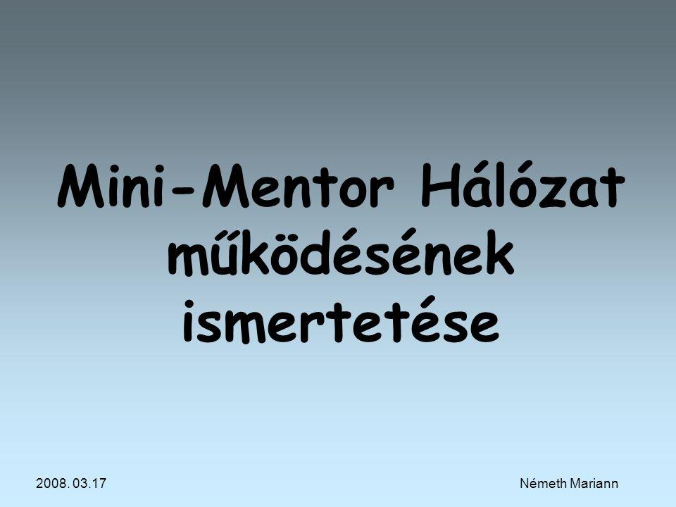 Mini-Mentor Hálózat működésének ismertetése