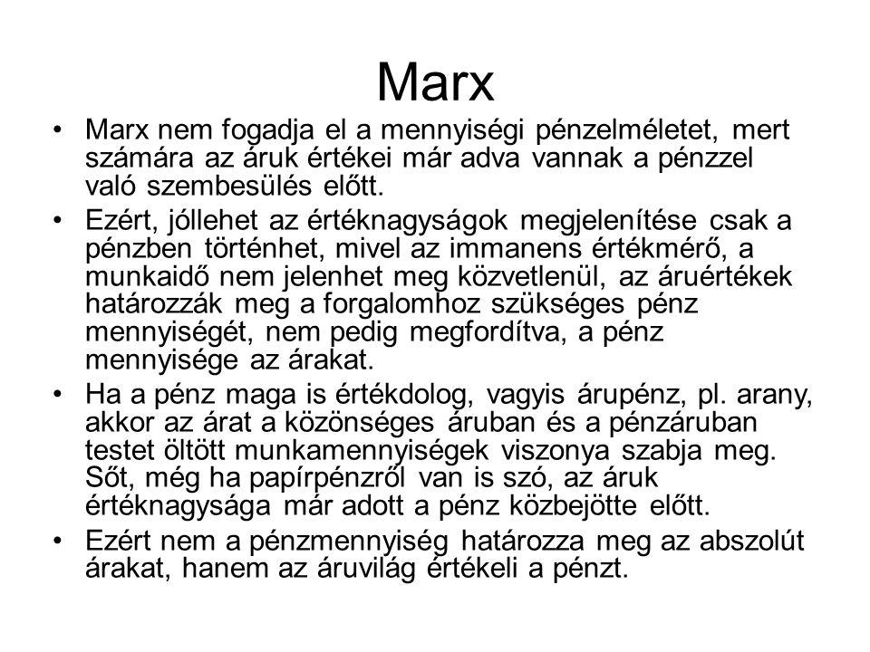 Marx Marx nem fogadja el a mennyiségi pénzelméletet, mert számára az áruk értékei már adva vannak a pénzzel való szembesülés előtt.