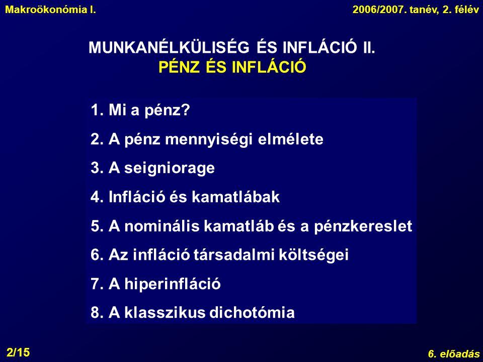 MUNKANÉLKÜLISÉG ÉS INFLÁCIÓ II.