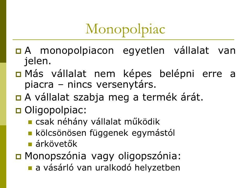 Monopolpiac A monopolpiacon egyetlen vállalat van jelen.
