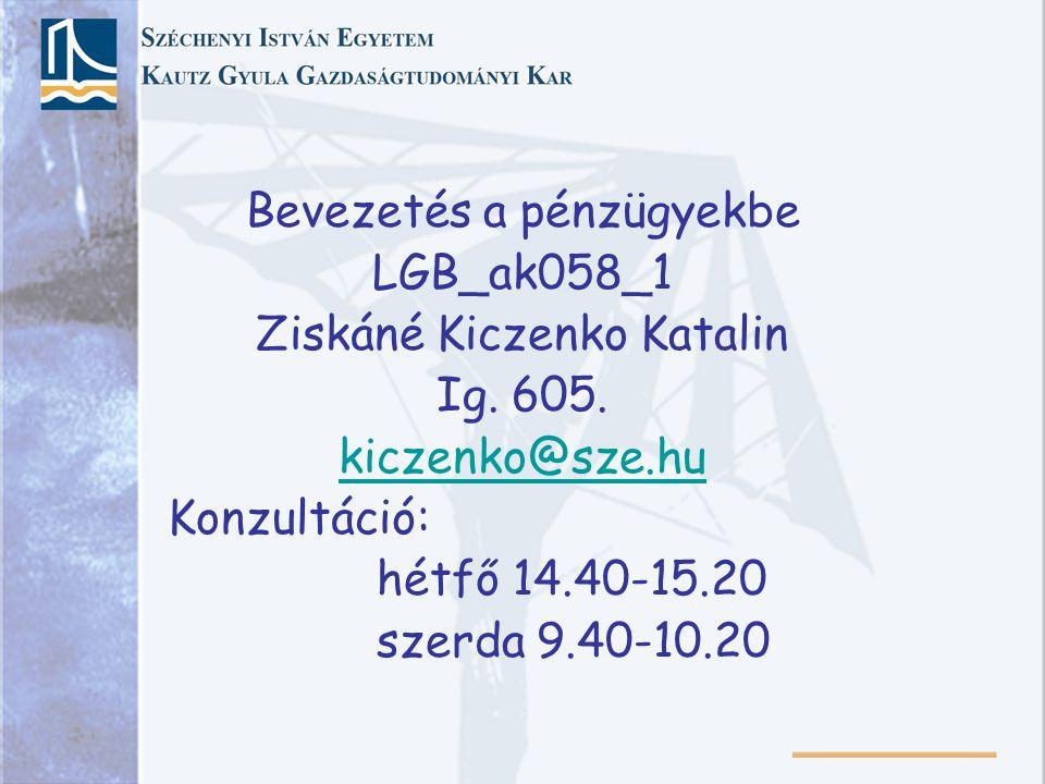 Bevezetés a pénzügyekbe LGB_ak058_1 Ziskáné Kiczenko Katalin Ig. 605.