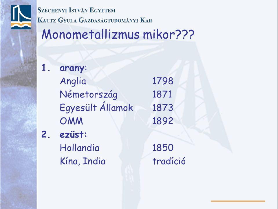 Monometallizmus mikor