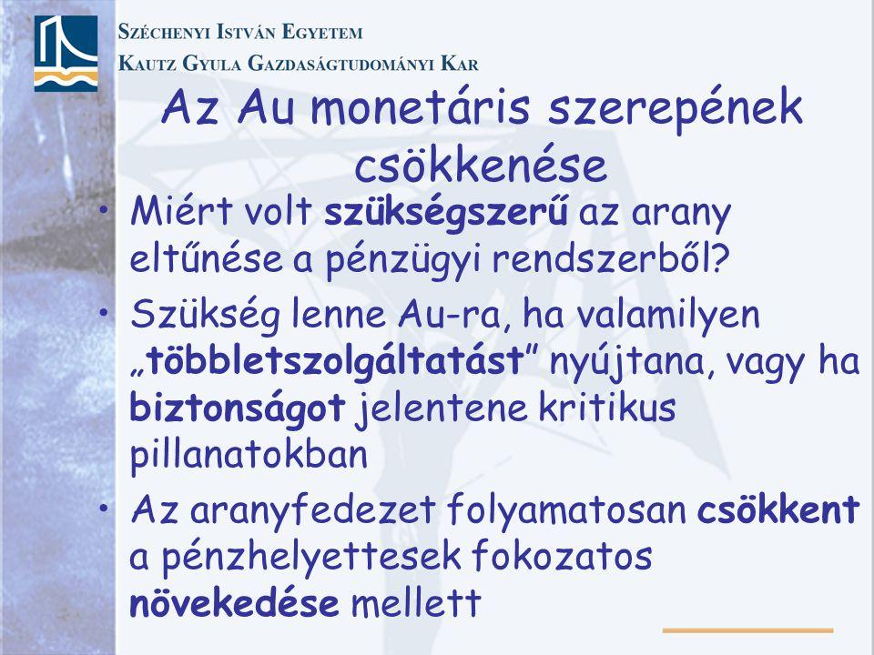 Az Au monetáris szerepének csökkenése