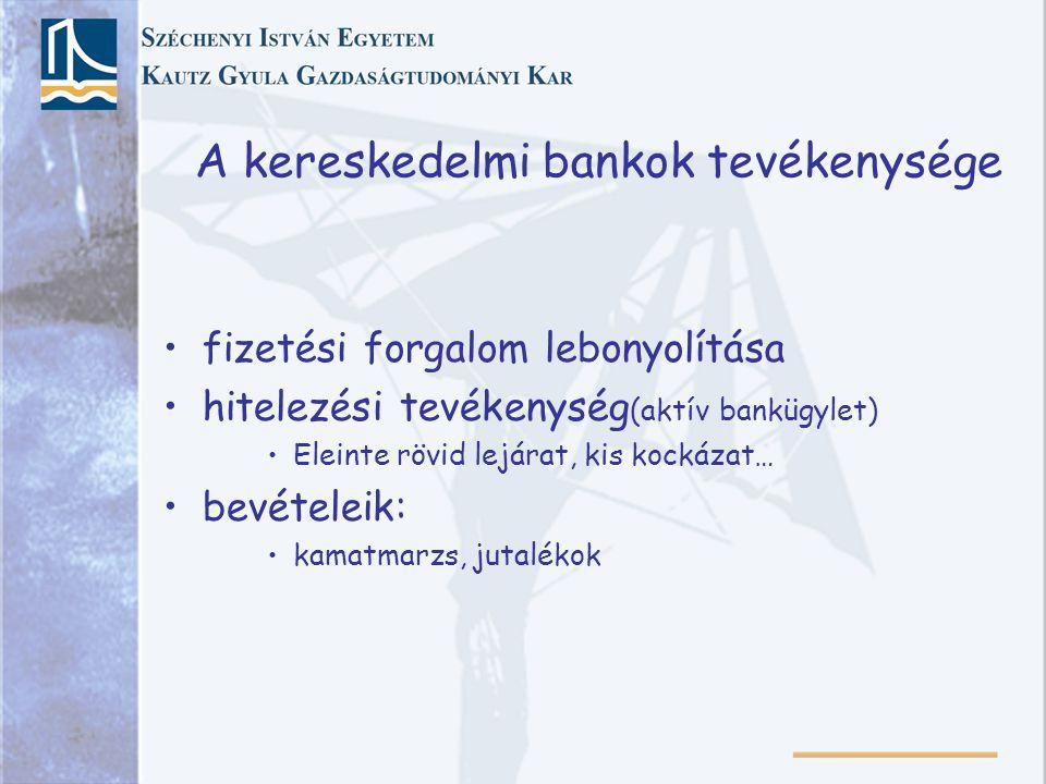 A kereskedelmi bankok tevékenysége