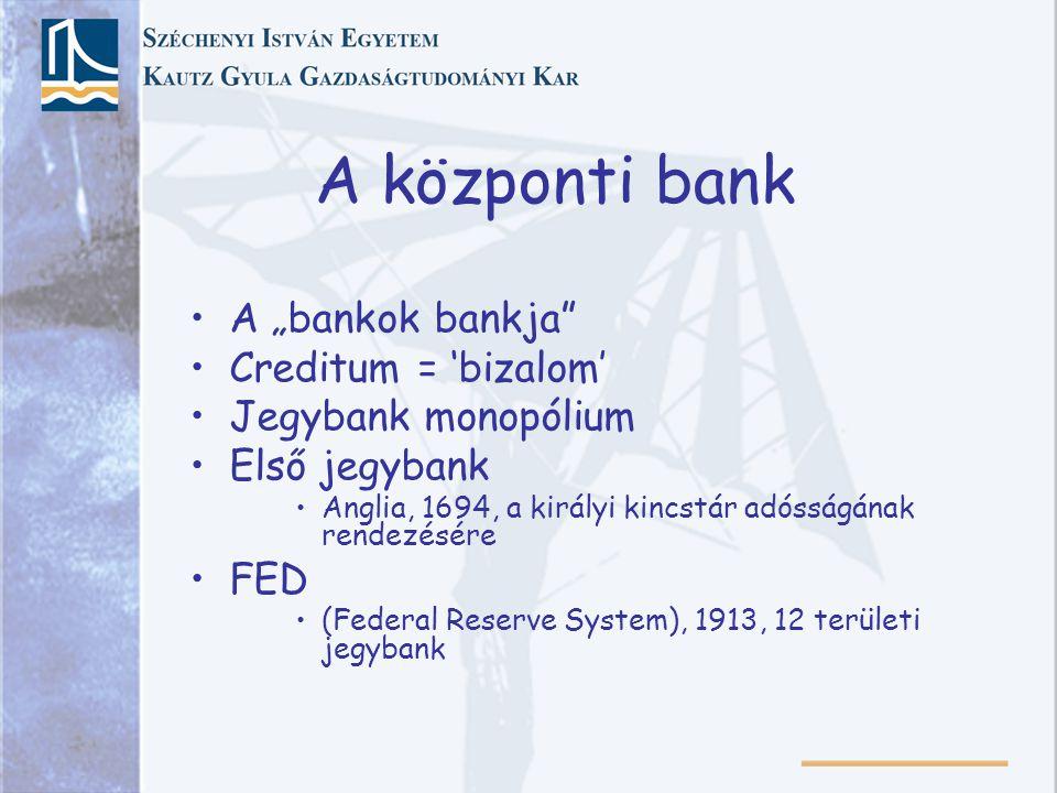 "A központi bank A ""bankok bankja Creditum = 'bizalom'"