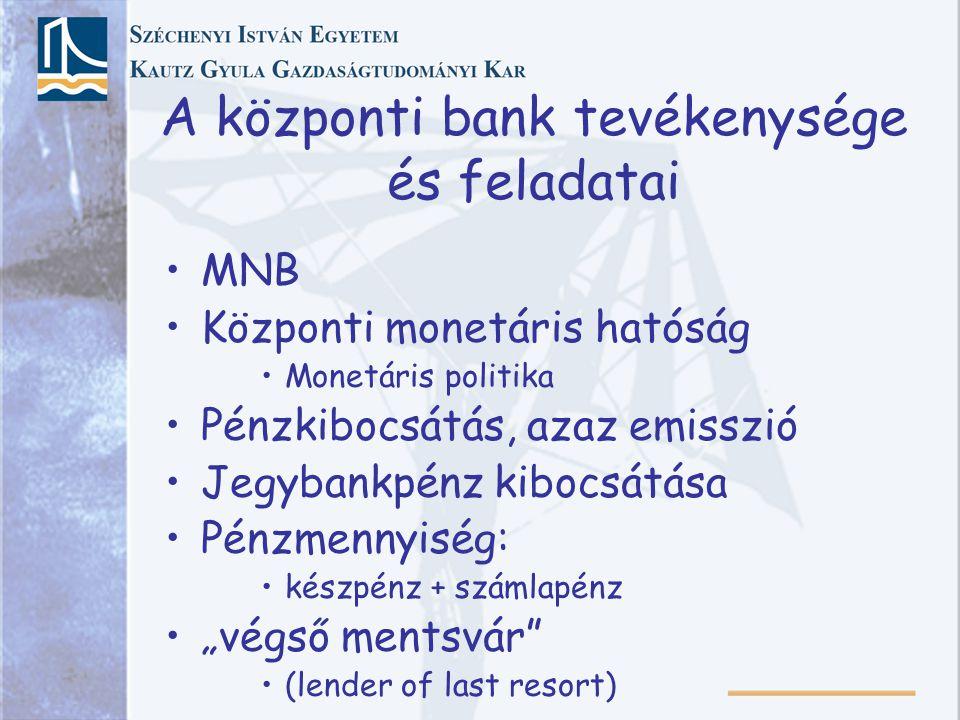 A központi bank tevékenysége és feladatai