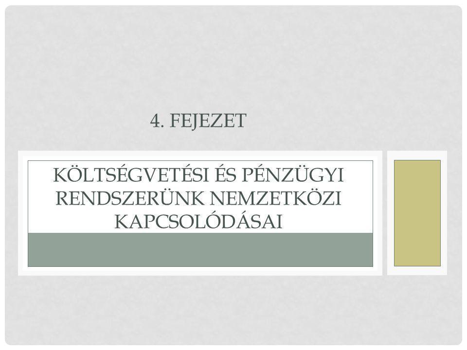 4. Fejezet Költségvetési és pénzügyi rendszerünk nemzetközi kapcsolódásai