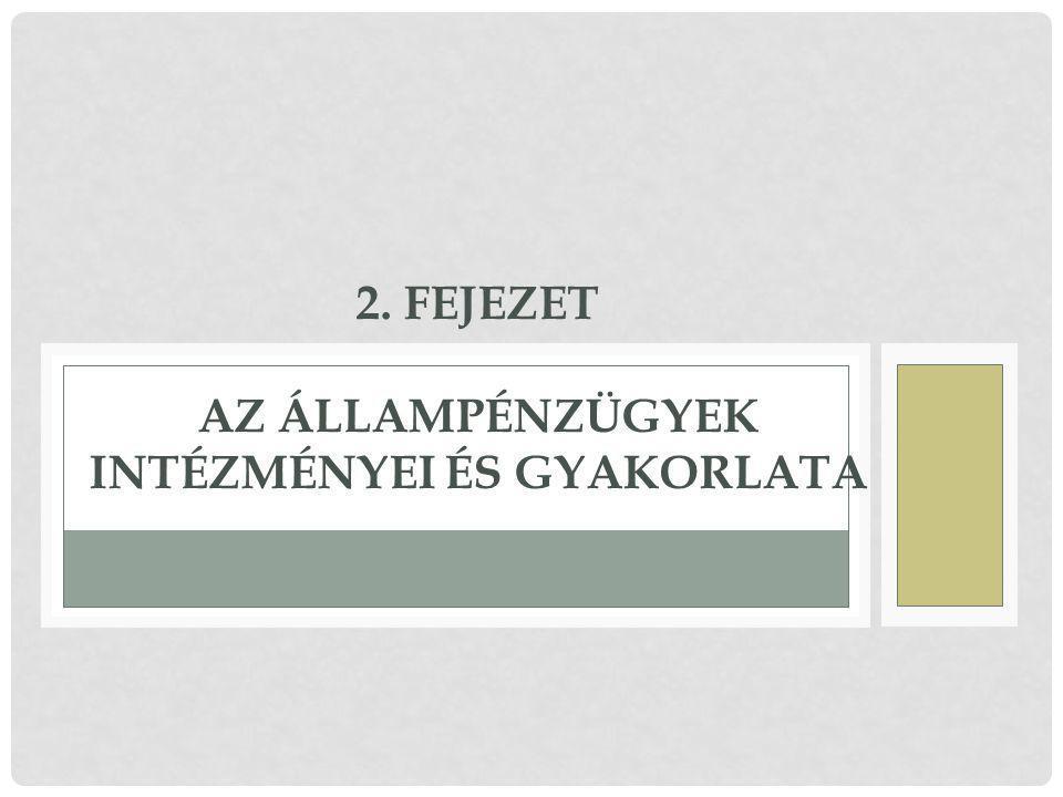 2. Fejezet Az állampénzügyek intézményei és gyakorlata