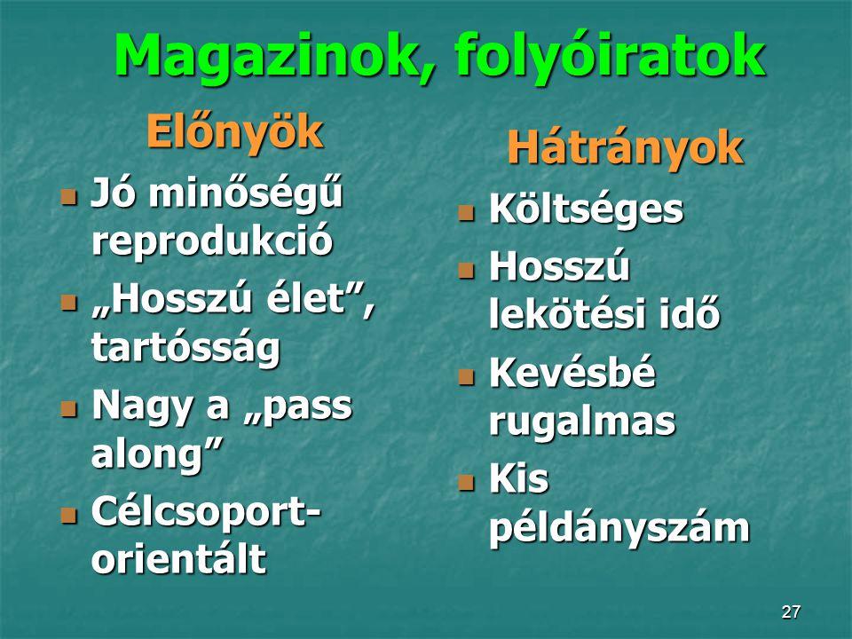 Magazinok, folyóiratok
