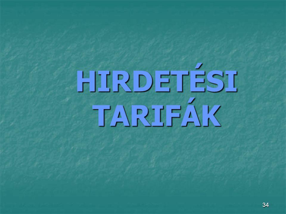 HIRDETÉSI TARIFÁK