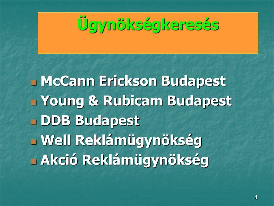 Ügynökségkeresés McCann Erickson Budapest Young & Rubicam Budapest