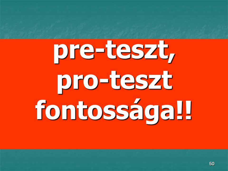 pre-teszt, pro-teszt fontossága!!