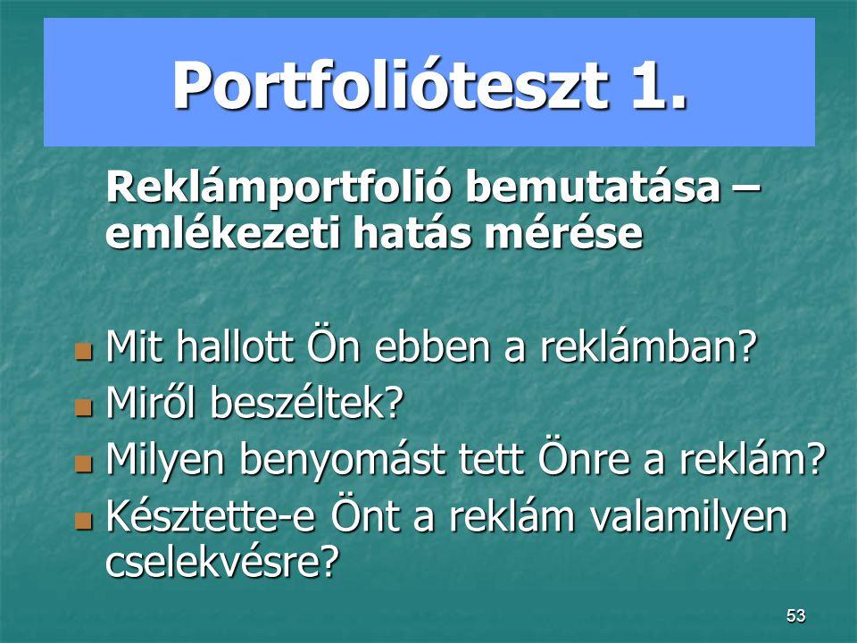 Portfolióteszt 1. Mit hallott Ön ebben a reklámban Miről beszéltek