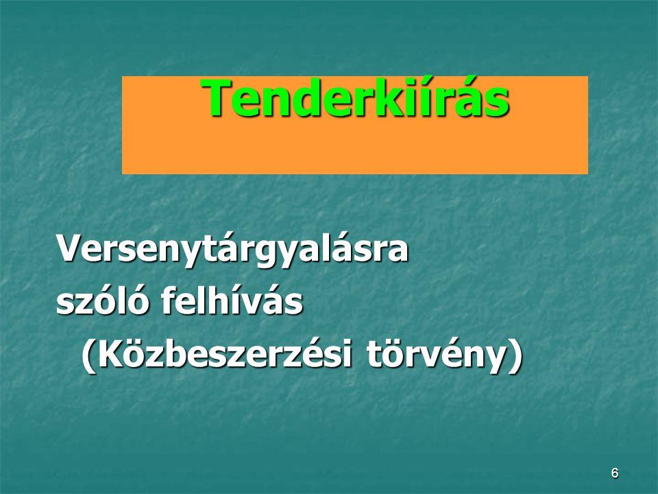 Tenderkiírás Versenytárgyalásra szóló felhívás (Közbeszerzési törvény)