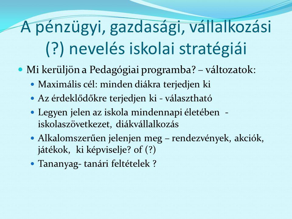 A pénzügyi, gazdasági, vállalkozási ( ) nevelés iskolai stratégiái