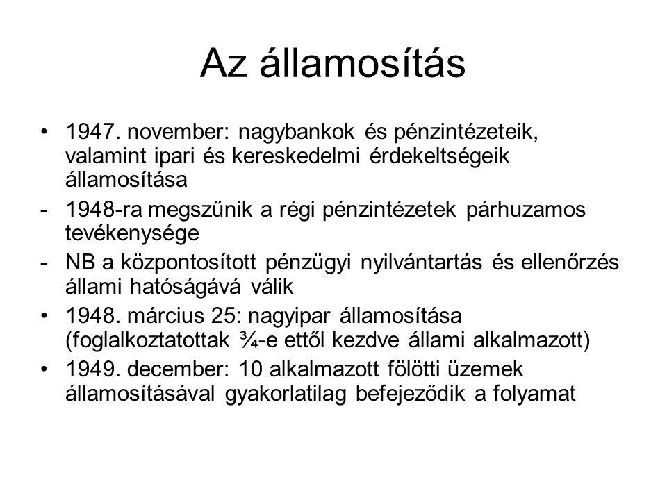 Az államosítás 1947. november: nagybankok és pénzintézeteik, valamint ipari és kereskedelmi érdekeltségeik államosítása.