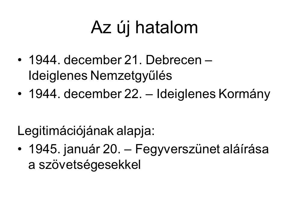 Az új hatalom 1944. december 21. Debrecen – Ideiglenes Nemzetgyűlés