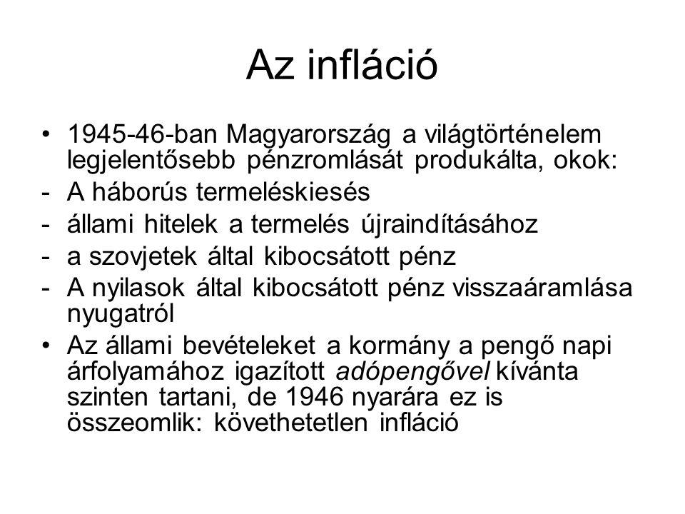 Az infláció 1945-46-ban Magyarország a világtörténelem legjelentősebb pénzromlását produkálta, okok: