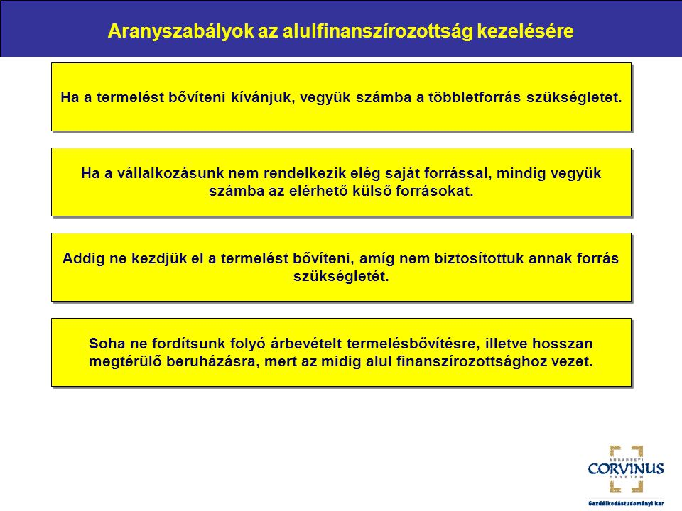 Aranyszabályok az alulfinanszírozottság kezelésére