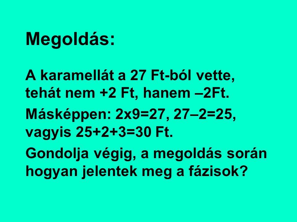 Megoldás: A karamellát a 27 Ft-ból vette, tehát nem +2 Ft, hanem –2Ft.