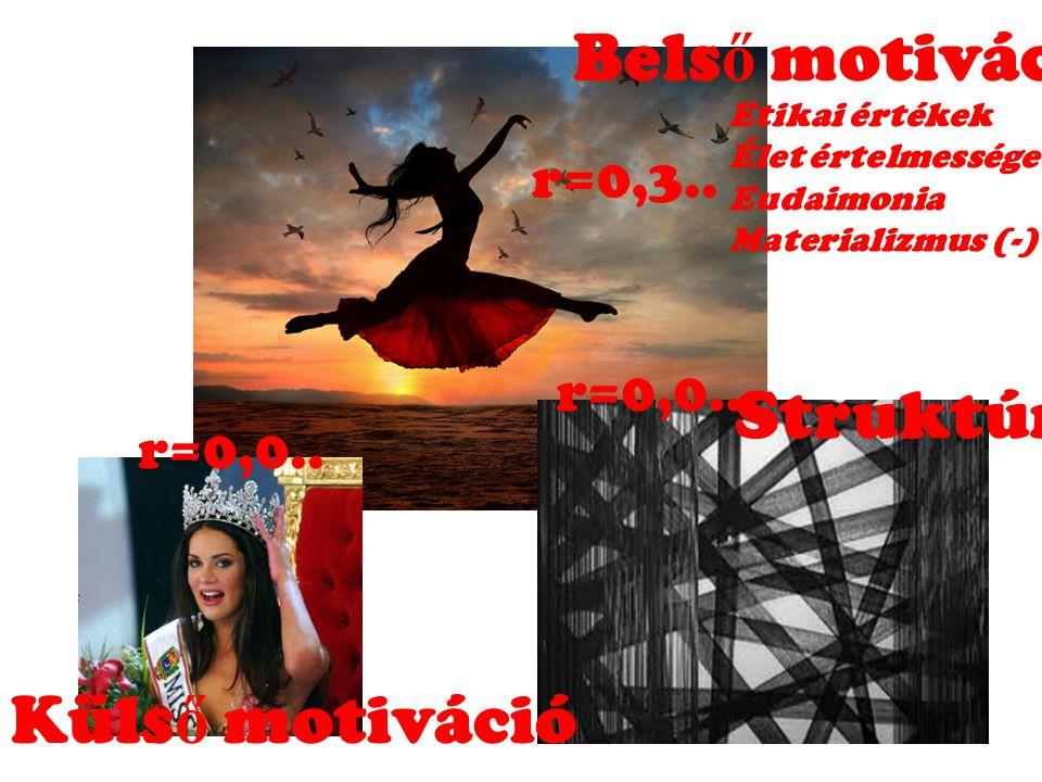Belső motiváció Struktúra Külső motiváció r=0,3.. r=0,0.. r=0,0..
