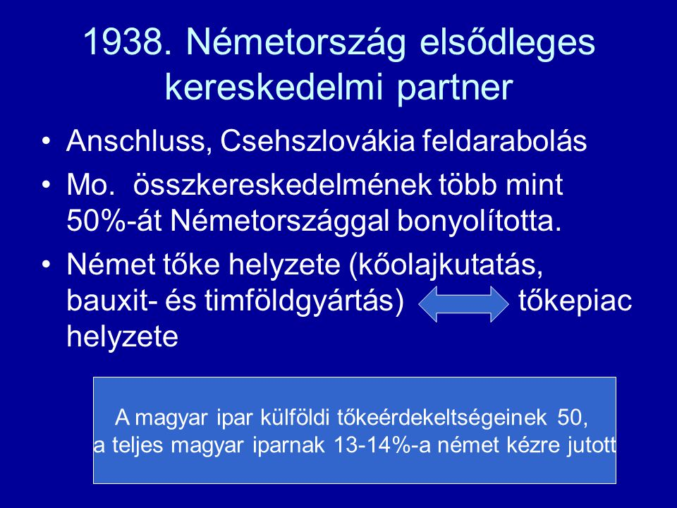 1938. Németország elsődleges kereskedelmi partner