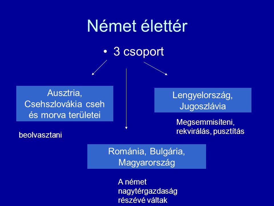 Német élettér 3 csoport. Ausztria, Csehszlovákia cseh és morva területei. Lengyelország, Jugoszlávia.
