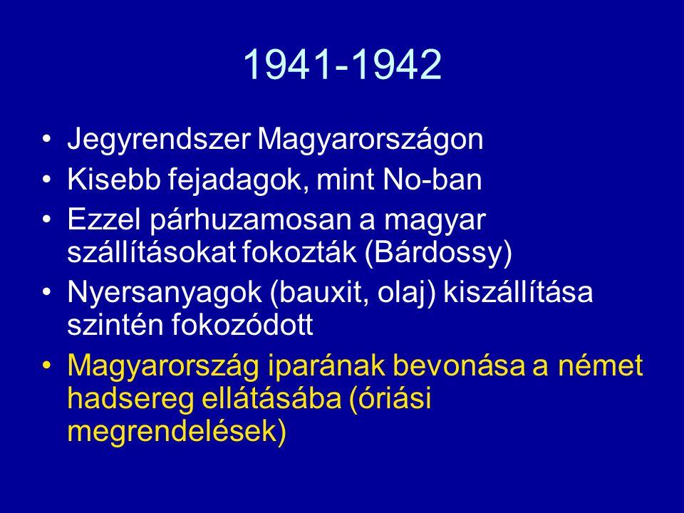 1941-1942 Jegyrendszer Magyarországon Kisebb fejadagok, mint No-ban
