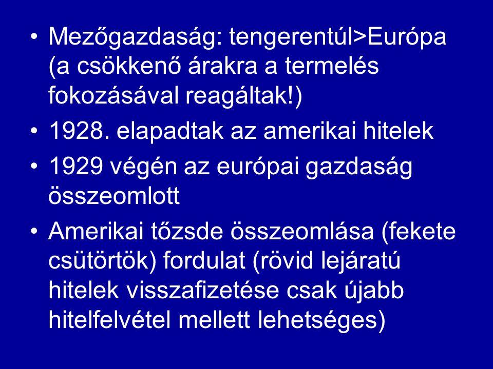 Mezőgazdaság: tengerentúl>Európa (a csökkenő árakra a termelés fokozásával reagáltak!)