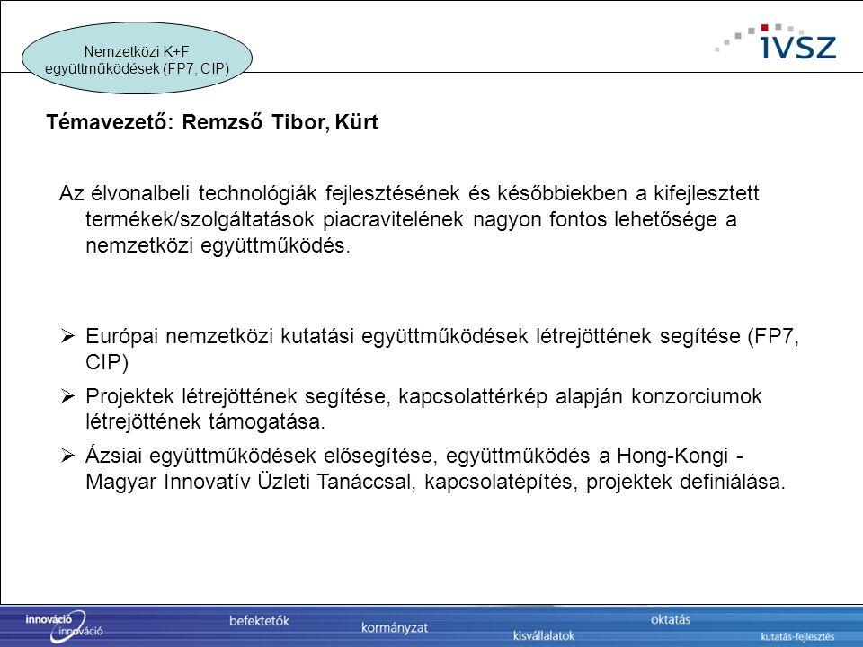 Nemzetközi K+F együttműködések (FP7, CIP)