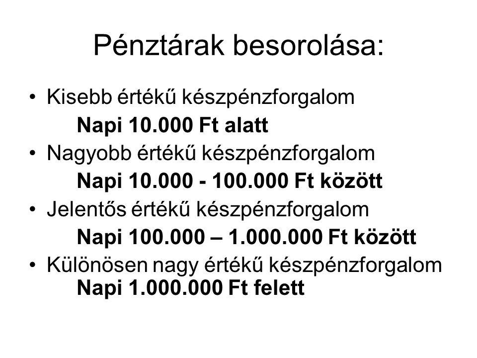 Pénztárak besorolása: