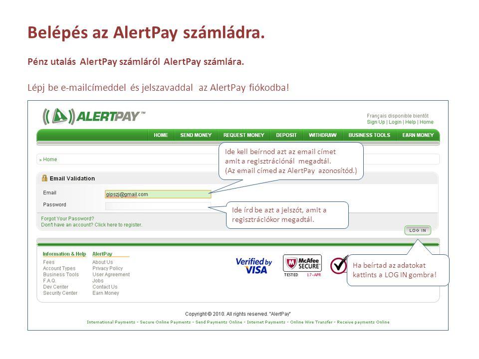 Belépés az AlertPay számládra.