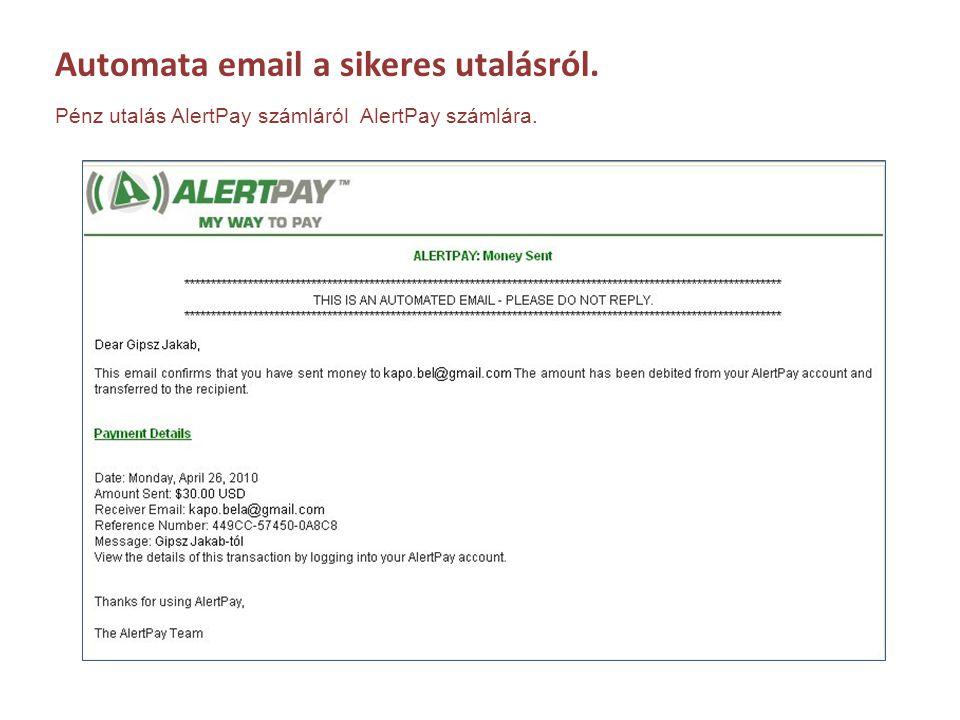 Automata email a sikeres utalásról.