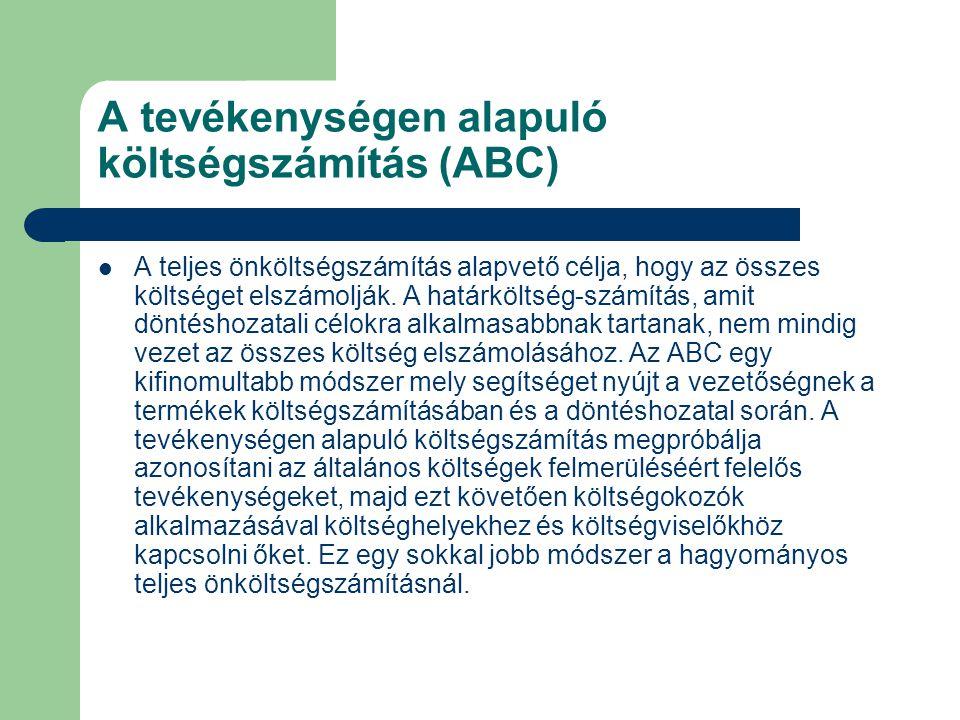 A tevékenységen alapuló költségszámítás (ABC)